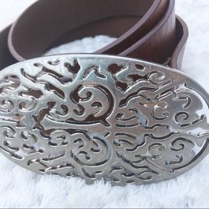 Liz Claiborne Vintage Boho Brown Leather Belt Med